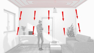 Obrázok znázorňuje princíp stropného chladenia
